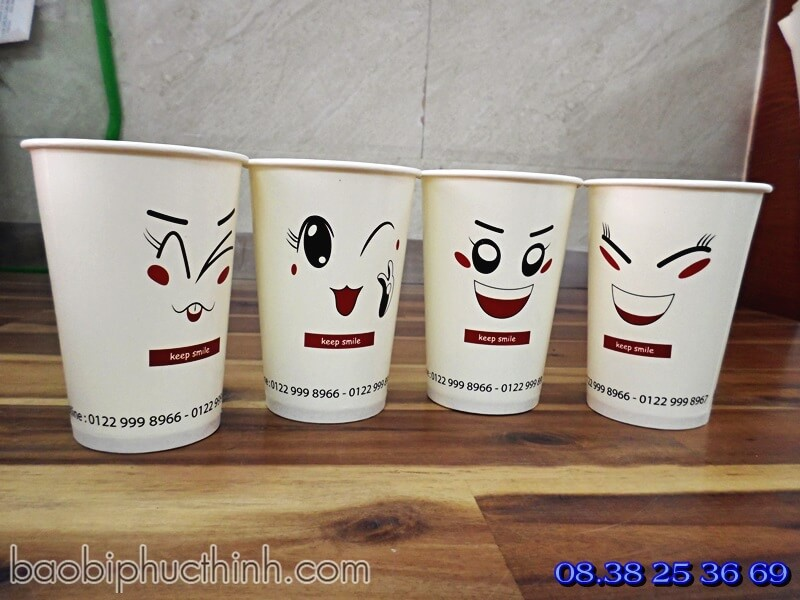 ly giay smile - ly giay minion -coffee to go - ly giay thuong hieu